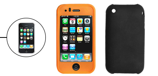 Orange and Black Silicone Protective Case for Apple iPhone 3G