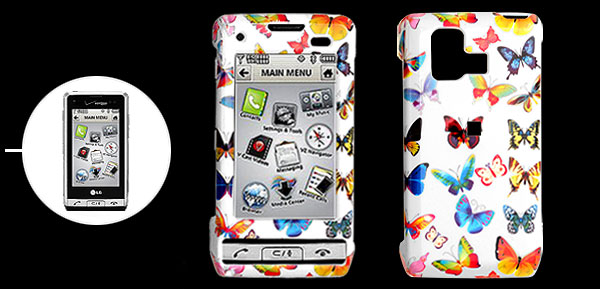 White Hard Plastic Case with Colorful Butterfly Pattern for LG VX9700