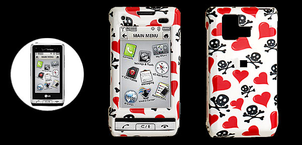 White Hard Plastic Case with Red Heart and Skull Design for LG VX9700