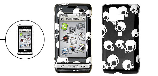 Black Hard Plastic Case with White Skull Pattern for LG VX9700