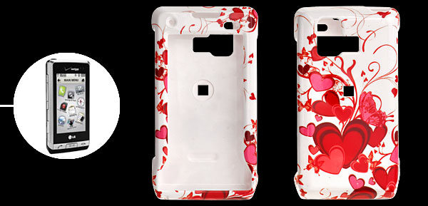 White Hard Plastic Case with Red Heart Pattern for LG VX9700