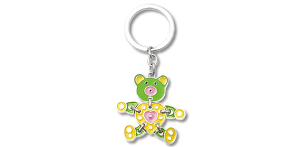 Key Chain Ring Keychain with Green Yellow Cute Metal Bear Pendant