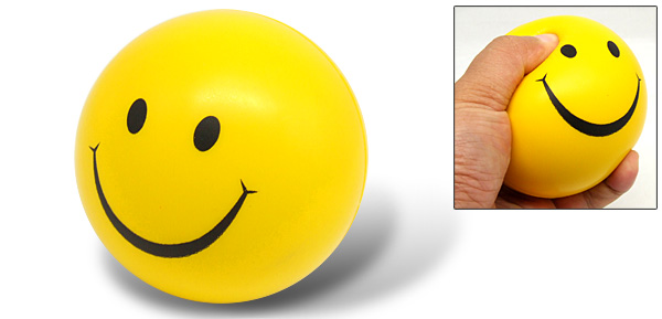 Yellow Soft Stuffed Squeeze Toss Foam Golf Stress Sponge Ball Smile Face Toy
