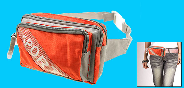Zipper Nylon Orange Gray Waist Belt Bag Pouch Pack W/3 Compartments