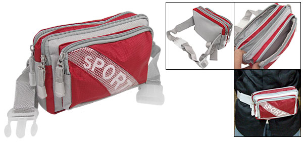 Leisure Travel Nylon Fannie Waist Pouch Belt Hip Pack W/3 Compartments Red