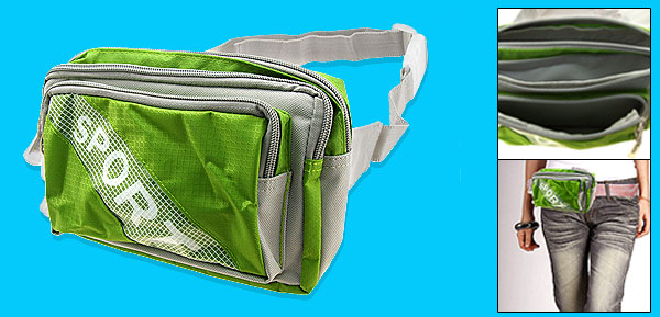 Green and Gray Zipper Nylon Waist Belt Sports Bag Pouch