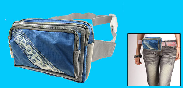 Travel Sport Durable Waist Pouch Belt Bag Fanny Pack W/3 Compartments Blue and Gray