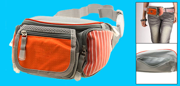 Leisure Waist Hip Pack Bag Pouch W/5 Compartment Orange and Gray