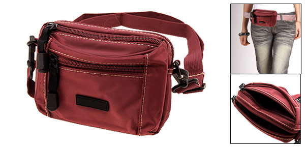 Small Zippered Leisure Mono Single Shoulder Pack Purse w/ A Strap Scarlet
