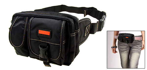 Travel Leisure Nylon Fannie Waist Pouch Belt Hip Pack W/5 Compartments Black