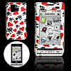 White Hard Plastic Case with Red Heart and Skull Design for LG VX...