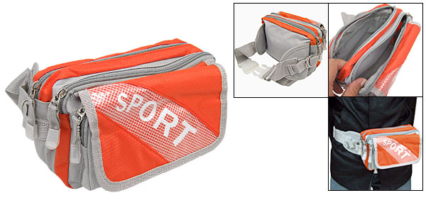 Orange Gray Zipper Nylon Waist Fanny Belt Bag Pouch Pack W/3 Compartments