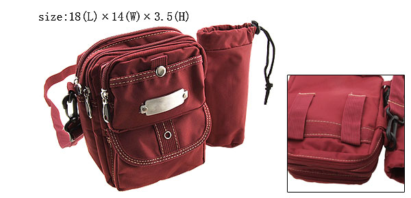 Zippered Leisure Mono Single Shoulder Pack W/ Sports Bottle Scarlet