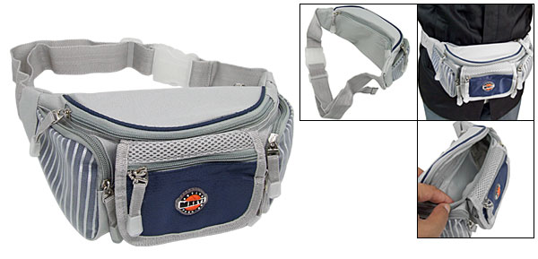 Waist Pouch Travel Belt Bag Leisure Fanny Hip Pack W/5 Compartment