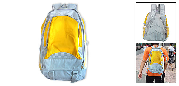 Adventurer Travel Leisure Backpack Campus Double Shoulder Pack Knapsack Yellow