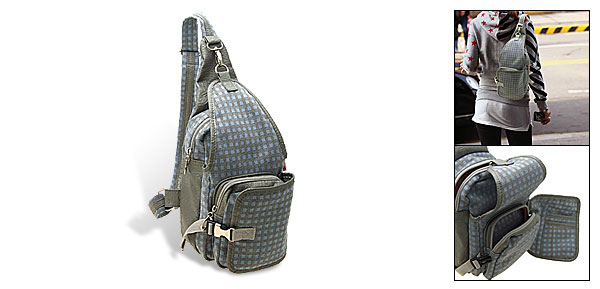 Single Strap Triangle Backpack Knapsack Grid Pattern Cloth Bag