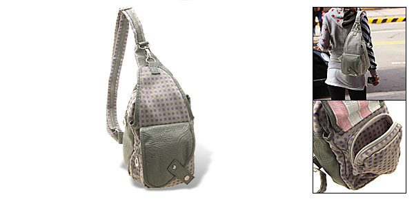 Over the Shoulder Messenger Cloth Bag Single Strap Triangle Backpack Grid Pattern