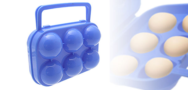 Folding Blue Easy Carrying Plastic Eggs Case Box for 6 Pcs
