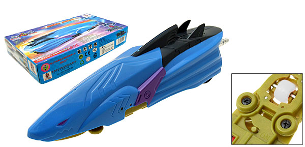 Sky Blue Horrified Shark Battery Powered Fast Racing Kid's DIY Car Toy