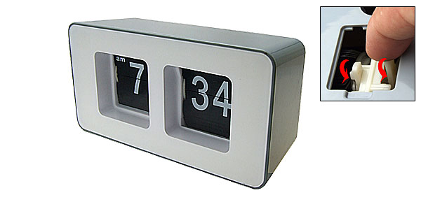 Desktop Retro Auto Flip Number Clock Grey and White