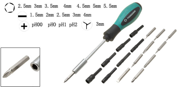 18 Bits Phillips Slotted Mutifunctional Screwdriver Set Repair Tool