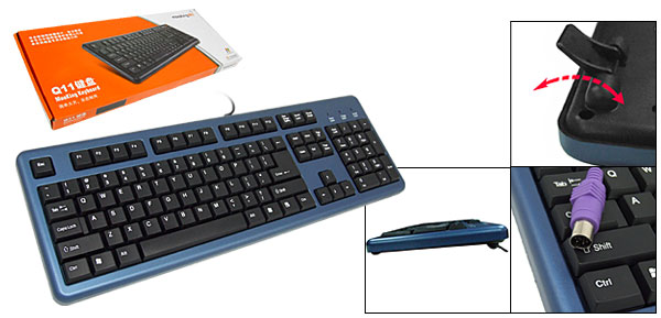Flexible PS/2 Interface Computer PC Keyboard with Extra Stand Black and Blue