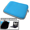 "Double Zippers 13.3"" Soft Notebook Laptop Carrying Case Sleeve Bag Blue"