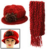 Handmade Girls Winter Fashion Knit Cloche Hat Cap and Scarf