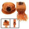 Fashion Girls Winter Knit Flapper Hat Cap with Scarf Orange
