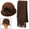 Brown Crochet Knit Women's Winter Cloche Hat Cap and Scarf