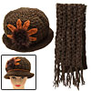 Hand Crochet Knit Ladies Cloche Flapper Hat Cap and Scarf