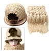 Hand Crochet Knit Women\'s Beige Cloche Hat Cap and Scarf
