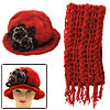Red Ladies Hand Crochet Knit Cloche Flapper Hat Cap and Scarf