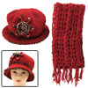 Girls Winter Red Crochet Cloche Hat Flapper Cap and Scarf