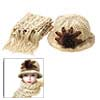 Fashion Beige Girls Winter Knit Cloche Hat Cap and Scarf