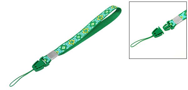Flower Design Mobile Cell Phone Rescue Lanyard Detachable Blue Nylon Strap