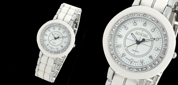 White Round Rhinestone Quartz Men's Fashion Wristwatch