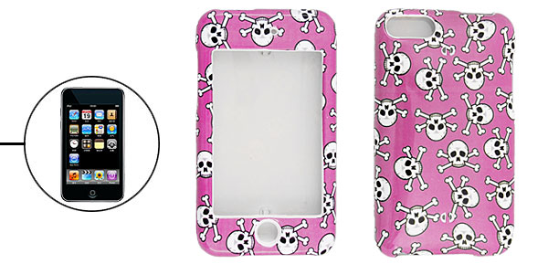 Fuchsia Hard Plastic Protector Case Skull Pattern for iPod Touch II 2nd Generation
