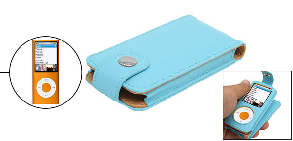 Baby Blue Flip Leather Case for iPod Nano Chromatic 4th Generation