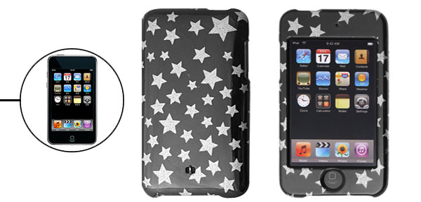 Glittery Silvery Star Black Plastic Case Cover for iPod Touch II