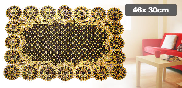 Elegant Golden Sunflower Pattern Decorative Table Mat Pad