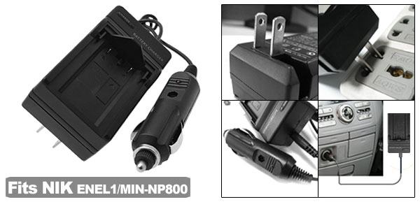 US Plug 100V-240V Camera Battery Home Car Charger for Nikon ENEL1 Minolta NP800
