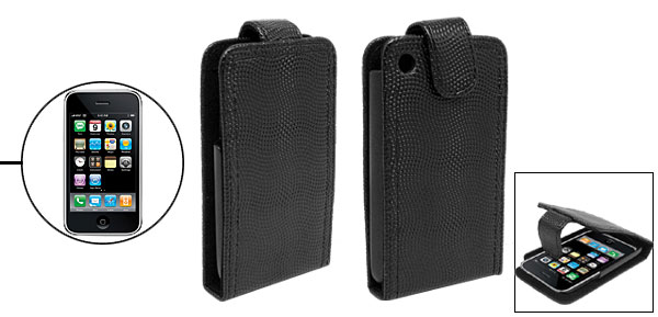 Vertical Flap Magnetic Flip Textured Leather Case w/ Plastic Holder for iPhone 3G
