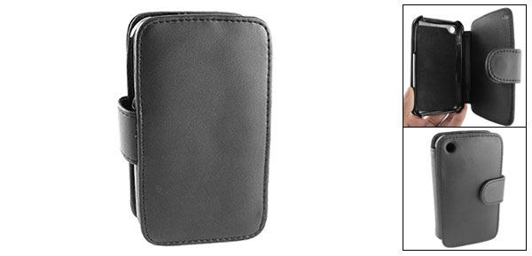 Black Soft Lining Inner Wallet Style Leather Case Holder for iPhone 3G
