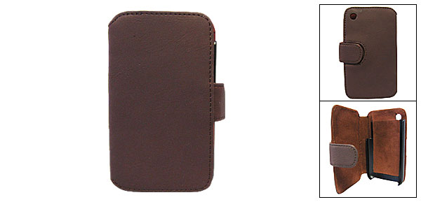 Wallet Style Faux Leather Case w/ Plastic Holder for iPhone 3G