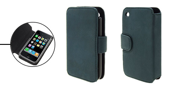 Wallet Style Magnetic Flip Cyan Soft Leather Case for iPhone 3G