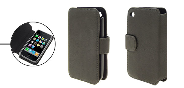 Magnetic Flip Wallet Style Soft Leather Case Cover for iPhone 3G Gray