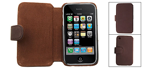 Coffee Magnetic Clip Wallet Style Leather Case for iPhone 3G