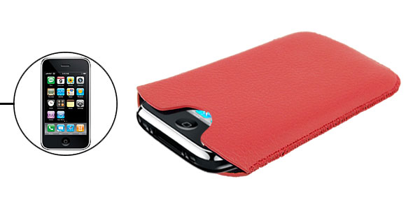 Leather Sleeve Case Pouch Holder Cover for Apple iPhone 3G Red