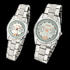 Numeral White Dial Steel Band Couple Lover's Quartz Watches